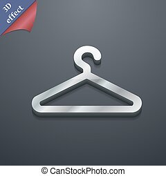 wieszak, przestrzeń, tekst, nowoczesny, symbol., style., modny, wektor, projektować, 3d, ikona, twój, odzież