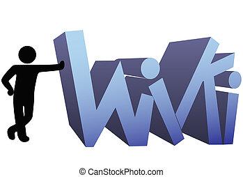 wiki, orientować się symbol, ludzie, ikona