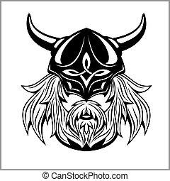 wiking, głowa, starożytny, logo, design., maskotka