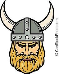 wiking, helmet), rysunek, (mascot, rogaty, głowa