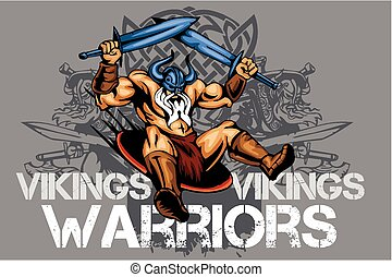 wiking, miecze, dwa, norseman, rysunek, maskotka