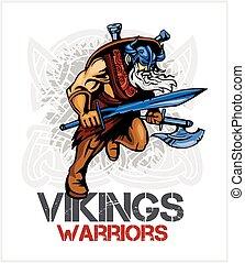 wiking, norseman, miecz, siekiera, rysunek, maskotka