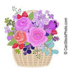 wiklina, cu, kosz, bez, las, róże, lato, jagody