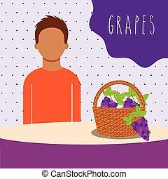 wiklina, owoc, winogrona, kosz, wypełniony, człowiek