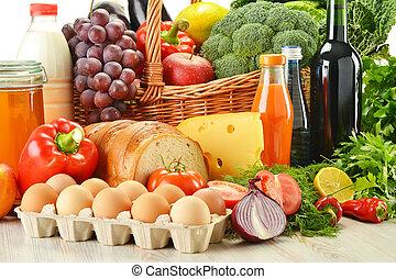 wiklina, warzywa, artykuły spożywcze, owoce, kosz, wliczając w to