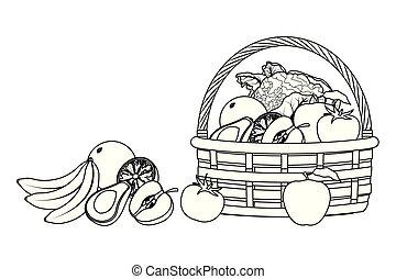 wiklina, warzywa, owoc, czarnoskóry, kosz, biały