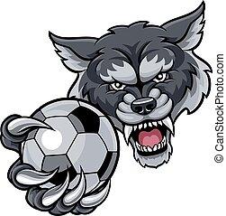 wilk, dzierżawa piłka nożna, piłka, piłka nożna, maskotka
