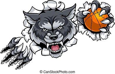 wilk, rozerwanie, koszykówka, tło, maskotka