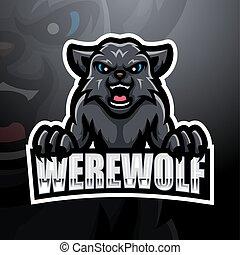 wilkołak, esport, logo, maskotka, projektować