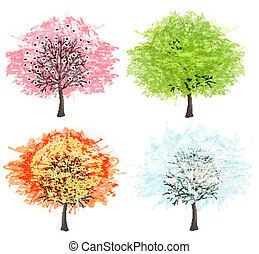winter., piękny, sztuka, illustration., wiosna, jesień, -, drzewo, cztery, wektor, pory, twój, lato, design.