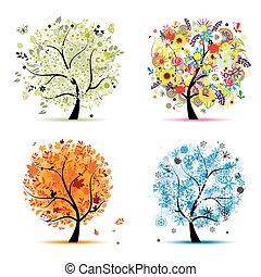 winter., piękny, sztuka, wiosna, jesień, -, drzewo, cztery, projektować, pory, twój, lato