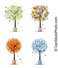 winter., sztuka, wiosna, -, garnki, drzewa, cztery, projektować, jesień, pory, twój, lato