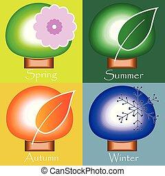 winter., wiosna, jesień, -, cztery pory, lato