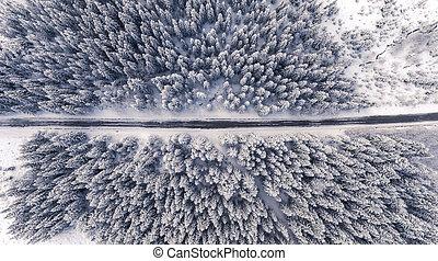 winterland, droga, antenowy prospekt