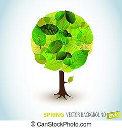 wiosna, abstrakcyjny, wektor, drzewo, ilustracja