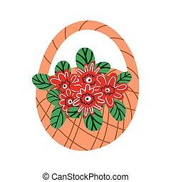 wiosna, bukiet, wiklina, kwiat, basket., kosz, odizolowany, wildflowers, białe kwiecie, tło.