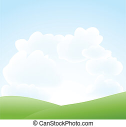 wiosna, chmura nieba, krajobraz