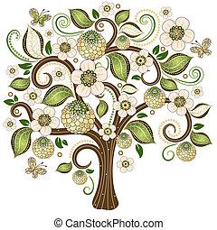 wiosna, dekoracyjny, drzewo