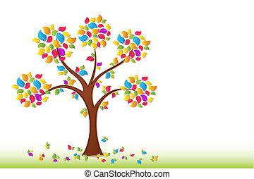 wiosna, drzewo, barwny