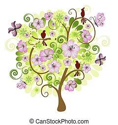 wiosna, drzewo, dekoracyjny