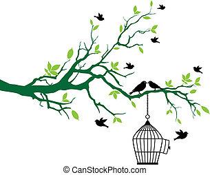wiosna, drzewo, ptaszki, birdcage