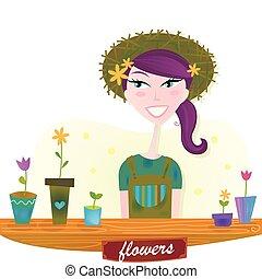 wiosna, kobieta, kwiaty, ogród