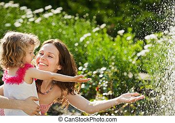 wiosna, kobieta, park, interpretacja, dziecko