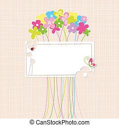 wiosna, kwiat, barwny, karta, powitanie