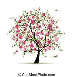 wiosna, projektować, drzewo, twój, róże