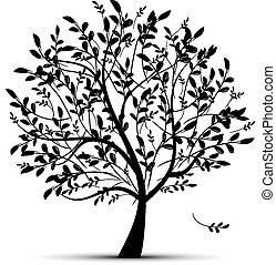wiosna, projektować, drzewo, zielony, twój