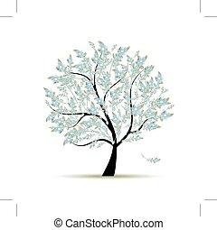wiosna, projektować, kwiaty, drzewo, twój