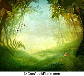 wiosna, projektować, -, las, łąka