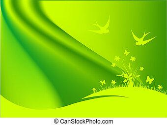 wiosna, tło, zielony