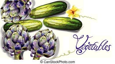 wiosna, warzywa, watercolor., wektor, ogórek, karczoch, świeży, veggies
