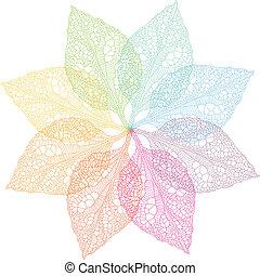 wiosna, wektor, barwny, liście