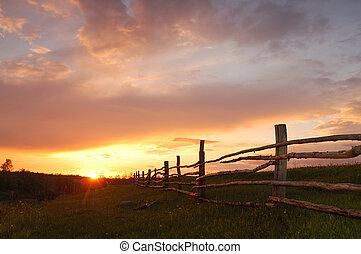 wiosna, zachód słońca