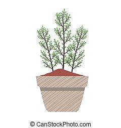 wiosna, zapuszkować roślinę, szary, ceramiczny, natura, ikona, pora, dom