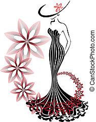 wir, kobieta, kwiat