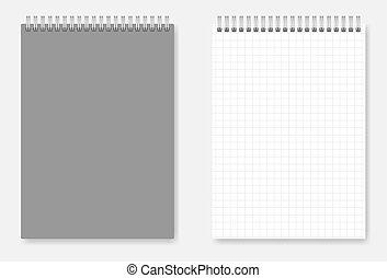 wirebound, osłona, grid-lined, -, notatnik, projektować, a6, strona, rozmiar