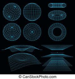 wireframe, symbols., matematyka, wektor, perspektywa, illustration., geometria