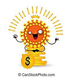 wirus, litera, siada, ekonomia, świat, kryzys, finansowe pojęcie, pieniądze.