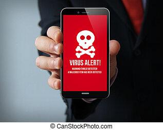 wirus, smartphone, biznesmen