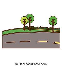 wizerunek, drzewa, przydroże, ikona, droga, wybrukowany