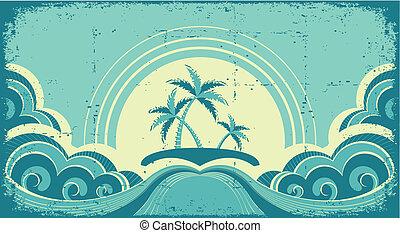 wizerunek, grunge, tropikalny, dłonie, island., motyw morski, rocznik wina