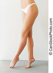 wizerunek, kobieta, nogi, przeciw, legs., doskonały, młody, oskubany, tło, reputacja, długi, biały