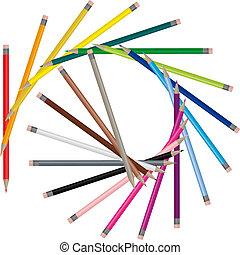 wizerunek, kolor, ołówki, -, wektor