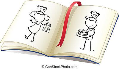 wizerunek, książka, kuchmistrze, rysunek