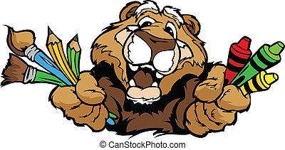 wizerunek, kuguar, wektor, maskotka, rysunek, preschool, szczęśliwy