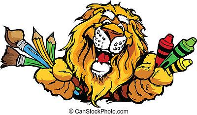 wizerunek, lew, wektor, maskotka, rysunek, preschool, szczęśliwy