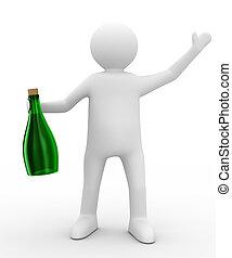 wizerunek, mężczyźni, odizolowany, tło., butelka, biały, 3d